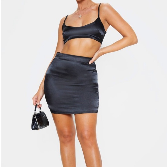 PrettyLittleThing Dresses & Skirts - Black satin two piece